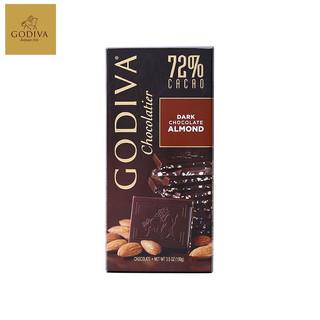 比利时进口歌帝梵GODIVA巧克力片排块可可海盐72%黑巧杏仁粒100g