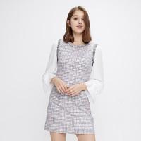 cachecache小香风连衣裙裙2020春款小清新夏编织雪纺智熏法式裙子