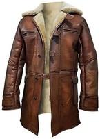 III-FFashions 羊皮皮大衣男式仿舊棕色風衣皮夾克