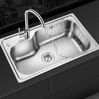 OULIN 欧琳 YG102-A 304不锈钢加厚单槽水槽套餐 含精铜龙头