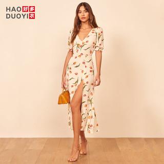 Haoduoyi  XK53T30174 女士开叉连衣裙