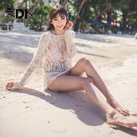 欧美款休闲镂空蕾丝针织沙滩罩衫罩衣防晒衫网衫女比基尼泳衣外套 模特色罩衫 均码 *2件
