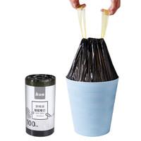 美丽雅 自动收口穿绳垃圾袋 一次性加厚抽绳塑料袋45*50cm*100只 *30件