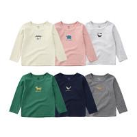 minizone 春秋季款男女儿童小童宝宝长袖T恤6色可选 *3件
