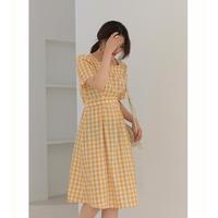 DUSHU D19094 大码格子连衣裙