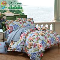 富安娜出品 圣之花清新印花纯棉舒适床上用品四件套 全棉亲肤适用床单被罩 *3件