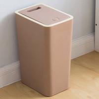 欧润哲  垃圾桶 8升家用按压式带盖办公室手按压厕所日式长方垃圾桶 PP料