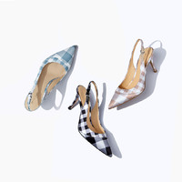 DS法式格纹细跟鞋