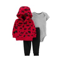 Carters2019新款儿童套装新生儿连身衣外套长裤三件装18520710