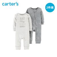 Carters新生婴儿春秋长袖连体衣男女宝宝哈衣爬服外出服126H508