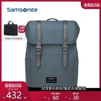 Samsonite/新秀丽工装背包男 大容量翻盖双肩包学院风校园书包TT1
