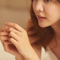 轩灵珠宝 14K黄金钻石蜻蜓组合戒指