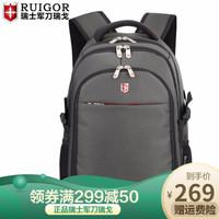 瑞戈瑞士军刀大容量旅游双肩包男女旅行包15.6寸电脑背包学生书包 灰色