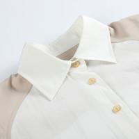 MJstyle TOPFEELING春季新款韩版拼接长款女长袖衬衫-719120052
