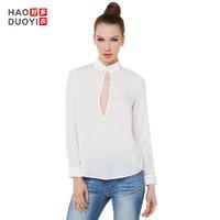 Haoduoyi新款女装 时尚简约性感镂空前短后长纯色衬衫女