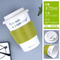 乐扣乐扣 硅胶盖陶瓷杯办公室水杯创意咖啡杯带盖情侣水杯子370ml绿色SLB003G *5件