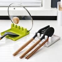 厨房锅铲架锅盖架多功能家用筷子架创意厨房家具用品收纳架汤勺垫 清新绿色 经济一个装