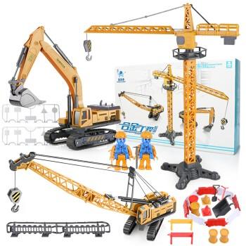 豆豆象 儿童玩具工程车 挖掘机+起重机+吊机 3只装