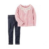Carters女宝宝蕾丝长袖T恤牛仔打底裤2件套