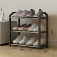 微信端 : 宿舍家用鞋架子多层防尘鞋柜不锈钢置物收纳架 三层