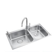 MOEN 摩恩 304不锈钢水槽 双槽+精铜龙头GN70211 80*45cm