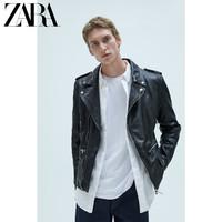 ZARA 新款 男装 拉链真皮皮衣夹克外套 05388401800