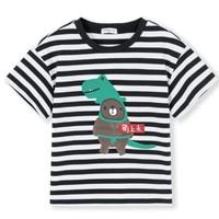 Balabala 巴拉巴拉 男童短袖T恤 28172191170 黑色/白色 100cm