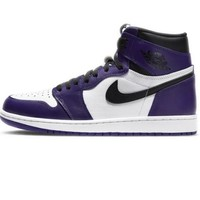 AIR JORDAN 1 Court Purple 555088-500 白紫脚趾 男子篮球鞋