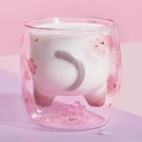 STARBUCKS 星巴克 樱花系列 8oz萌趣猫尾款双层玻璃杯