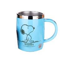 史努比(SNOOPY)带手柄不锈钢办公保温杯水杯420ML可爱情侣杯