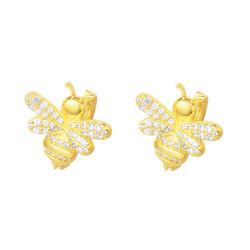 APM Monaco 女士 金黄色S925银镶晶钻蜜蜂 耳环首饰 AE10263OXY