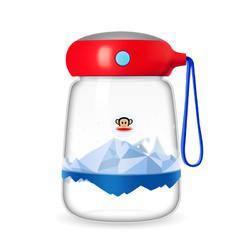 Paul Frank/大嘴猴 可爱玻璃企鹅杯 380ML 四色可选 送杯套