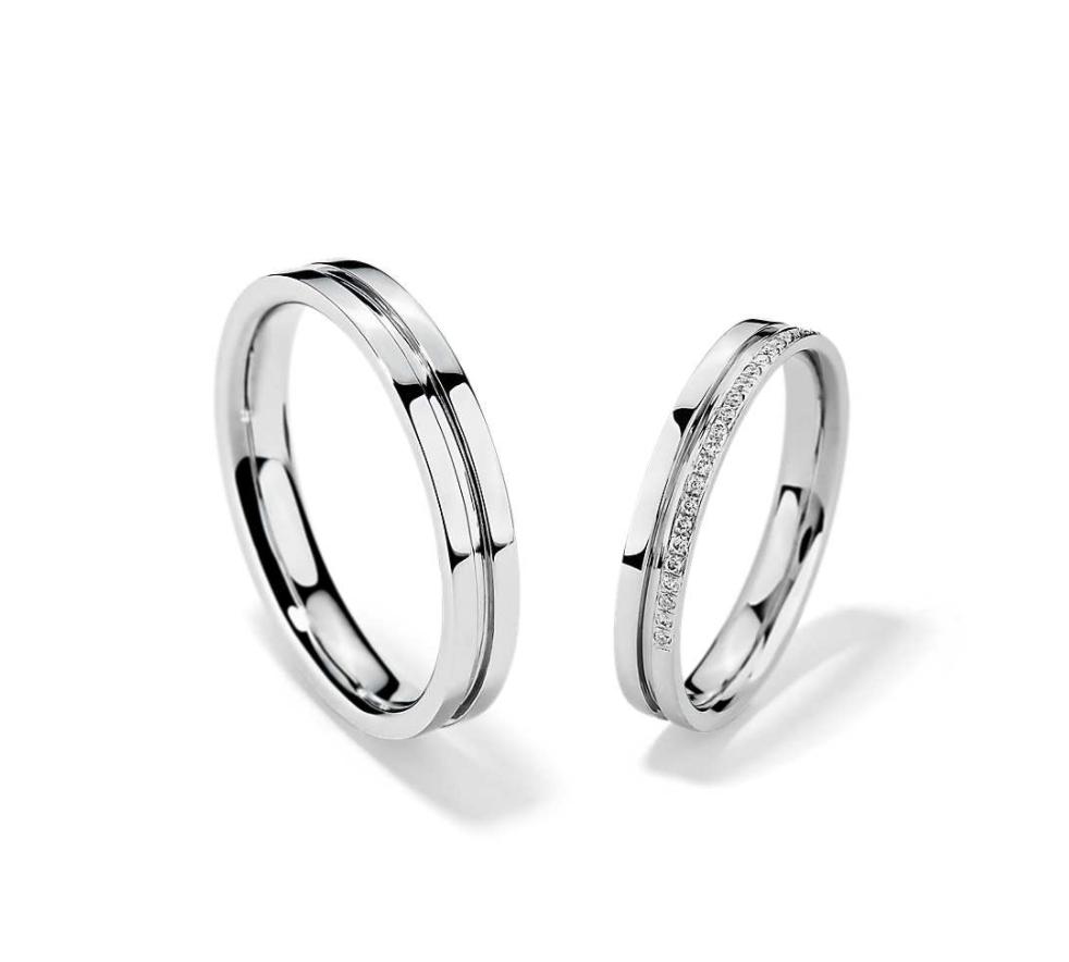 Blue Nile 铂金槽镶钻石 结婚对戒