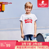 Levi's李维斯童装男女童夏款史努比联名短袖T恤LOGO印花舒适时尚儿童短T 001/纯白色 90cm