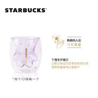 星巴克 6oz紫樱猫爪款双层玻璃杯 樱花杯可爱创意水杯桌面杯