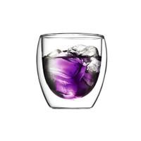 双层隔热耐热玻璃咖啡杯双层保温加厚玻璃杯泡茶杯水杯果汁随手杯 250ML单只 *2件