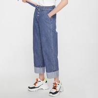 CacheCache裤子女夏2019新款泫雅风宽松直筒老爹裤卷边阔腿牛仔裤