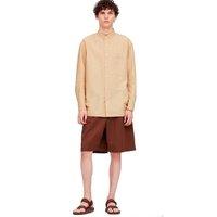 UNIQLO 优衣库 男士棉麻条纹立领长袖衬衫 427325 深米色 S