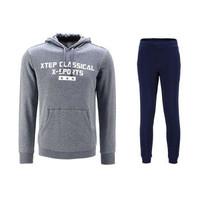 XTEP 特步 9241 男士卫衣卫裤套装 中灰 深蓝