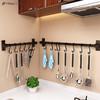 厨房免打孔挂杆壁挂厨房置物架太空铝挂架挂钩黑色挂件厨具收纳架