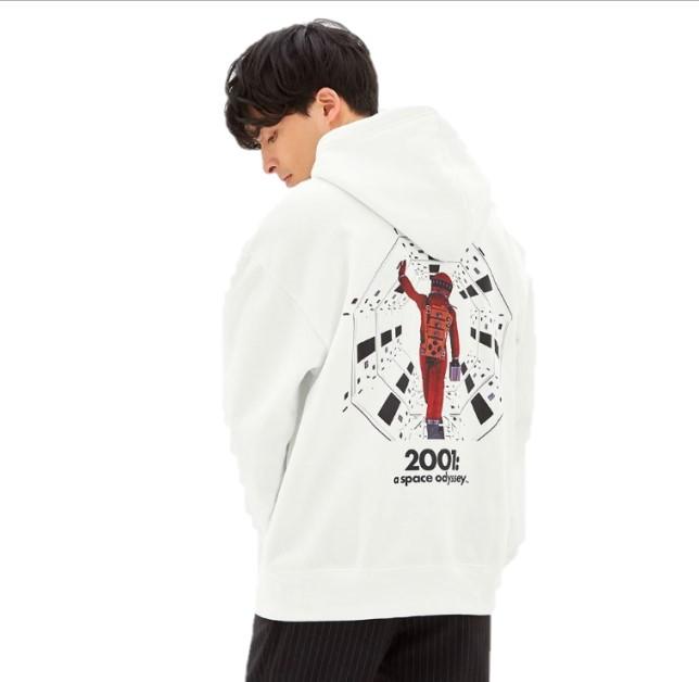 GU 极优 2001太空漫游合作系列 宽松连帽长袖男士卫衣 322085 白色 S