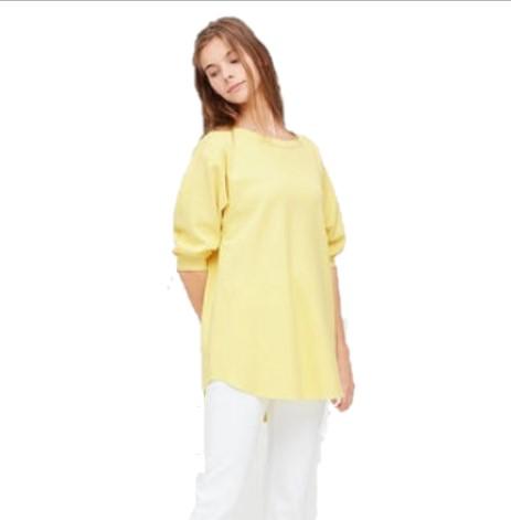 UNIQLO 优衣库 船领宽松七分袖女士休闲T恤 424022 淡黄色 S