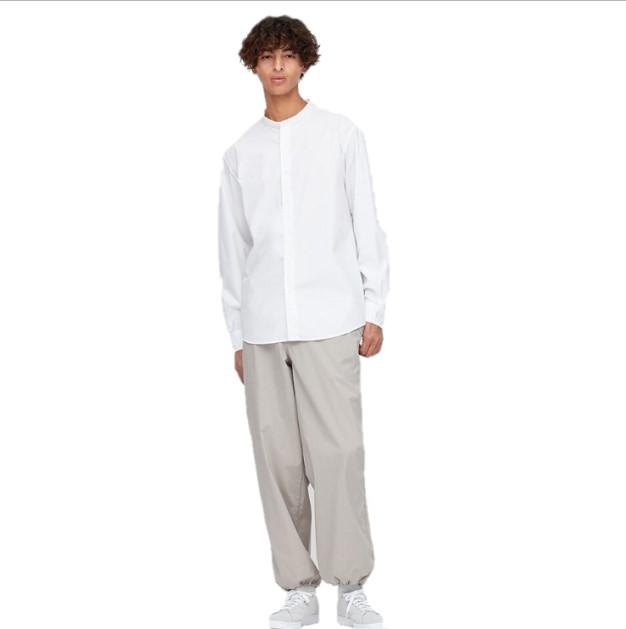 UNIQLO 优衣库 男士立领长袖休闲衬衫 425687 白色 S