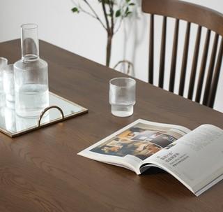 chcosy 初海 白橡木系列 全实木餐桌椅组合 1.4m桌+温莎椅*4把 胡桃色