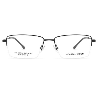 Coastal Vision 镜宴 中性钛架半框镜框 CVF4017 黑色