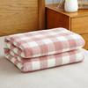 辰枫家纺 毛巾被纯棉毛毯全棉毛巾盖毯夏季午睡空调毯办公室午休毯单人双人纱布毯子 冷之巧格-豆沙 150*200cm