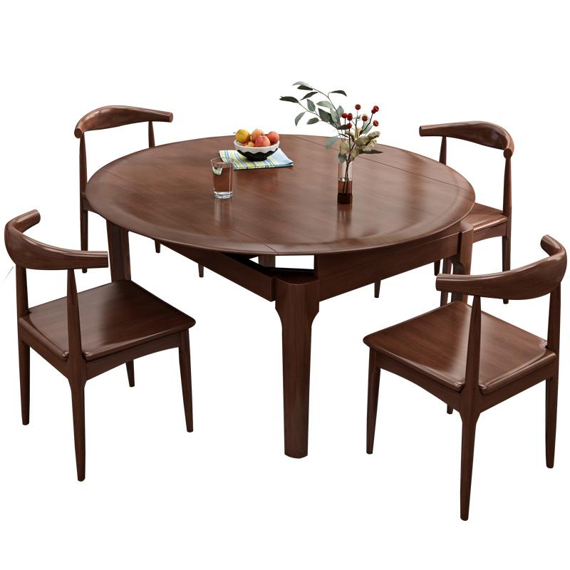 实木折叠桌现代简约 吃饭桌6人北欧伸缩圆桌家用小户型餐桌椅组合