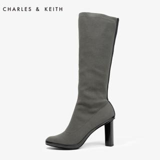 CHARLES & KEITH CK1-90900046 高跟圆头长筒靴