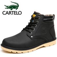 CARTELO 卡帝乐鳄鱼 KDLK280 男士加绒中高帮工装靴