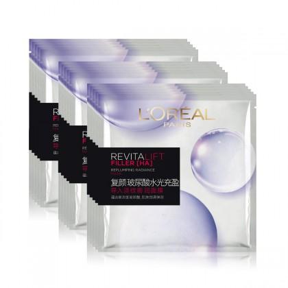 L'OREAL PARIS 巴黎欧莱雅 复颜玻尿酸水光充盈导入淡纹膨润面膜 15片